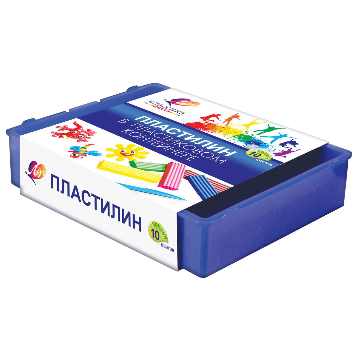 """Пластилин Луч """"Классика"""" 10цв. 200г. со стеком 7С304-08"""