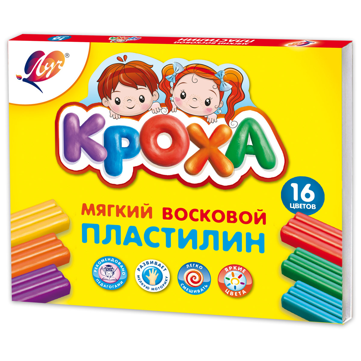 """Пластилин Луч """"Кроха"""" 16цв. мягкий, 264г. к/к, со стеком 28С1646-08"""