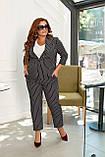 Женский стильный классический костюм большого размера 48, 50, 52, 54 черный в полоску, пиджак + брюки, фото 2
