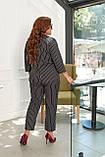 Женский стильный классический костюм большого размера 48, 50, 52, 54 черный в полоску, пиджак + брюки, фото 4