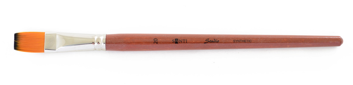 "Кисть худож. синтетика ""Santi Studio"", короткая ручка, плоская, №20."
