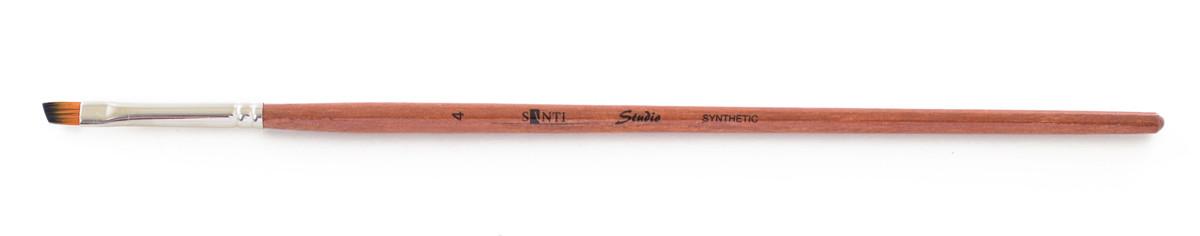 """Кисть худож. синтетика """"Santi Studio"""", короткая ручка, угловая, №4"""