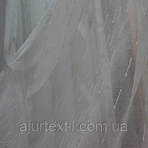 "Тюль лен ""Тайна"" бело молочная, фото 3"