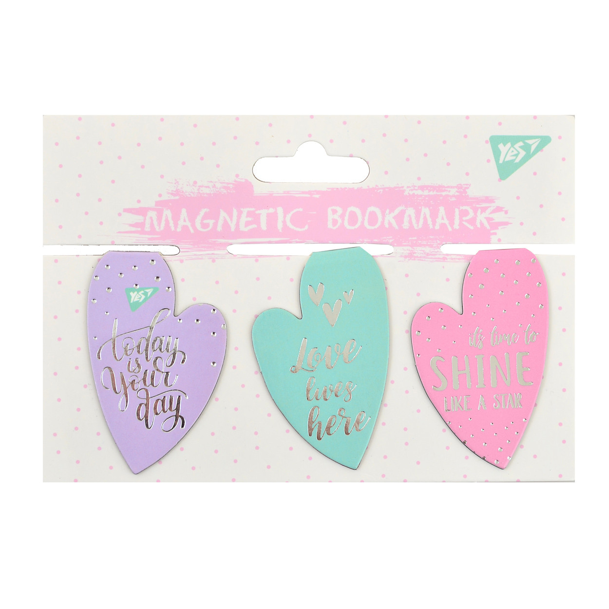"""Закладки магнитные YES """"Hearts"""", фольга, 3шт"""