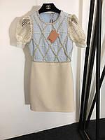 Платье Miu Miu с рукавами фонариками и вышивкой бисером