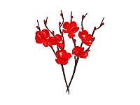 Цветы вишни из ткани - Красные, 1 шт
