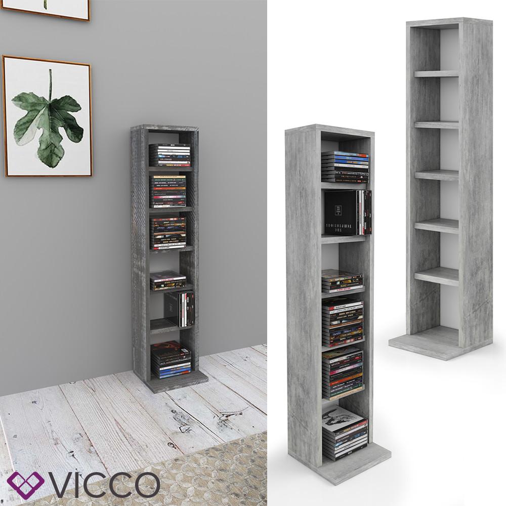 Мини стеллаж для дисков Vicco, 6 отсеков, бетон