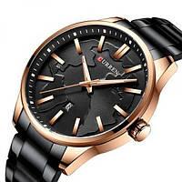 Часы наручные мужские кварцевые Curren 8366 Black-Gold 1008-0165