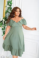 Нарядное женское платье расклешенное от талии с декольте длина за колено большие размеры 48-62 арт 590