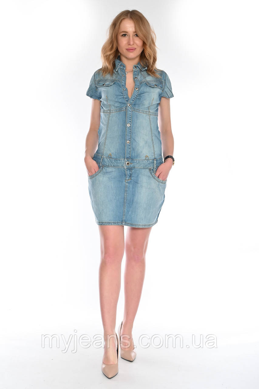 Женский джинзовый комбинезон юбка OMAT 4443 синий