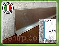 Алюминиевый плинтус для пола Profilpas Metal Line 90/6 высота 60 мм Серебро сатин (анод)