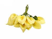Букет с листиками — Каллы Желтые, 6 шт