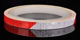 Универсальная светоотражающая самоклеющаяся лента в рулоне COOLOH 8 метров БЕЛЫЙ+КРАСНЫЙ