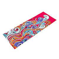 Коврик для йоги и фитнеса Замшевый PVC двухслойный 3мм (размер 173смx61смx3мм, красный, с абстрактным принтом)