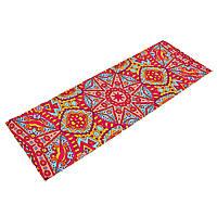 Коврик для йоги и фитнеса Замшевый PVC двухслойный 6мм (размер 173смx61смx6мм, красный-голубой, с Восточным принтом)