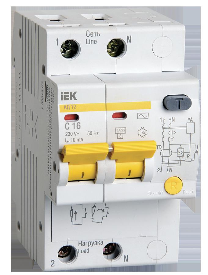 Дифференциальный автоматический выключатель АД12 2Р 16А 10мА IEK