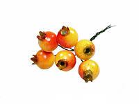 Декоративные плоды на стебле — Шиповник желто-красный, 6 шт