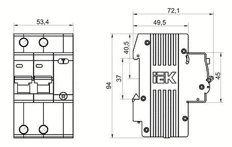 Дифференциальный автоматический выключатель АД12 2Р 63А 30мА IEK, фото 2