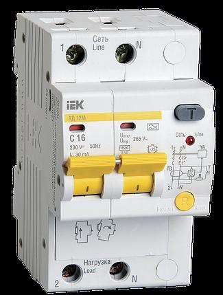 Дифференциальный автоматический выключатель АД12М 2Р С16 30мА IEK, фото 2