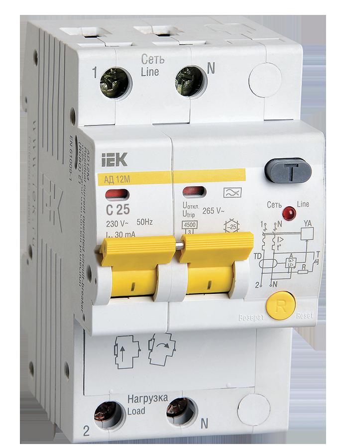 Дифференциальный автоматический выключатель АД12М 2Р С25 30мА IEK