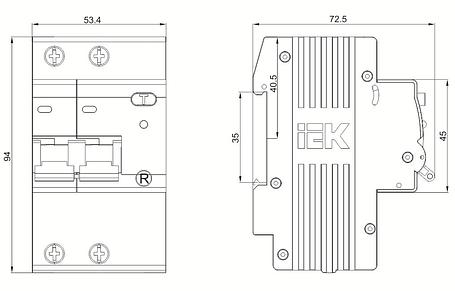 Дифференциальный автоматический выключатель АД12М 2Р С25 30мА IEK, фото 2
