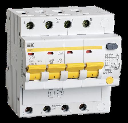 Дифференциальный автоматический выключатель АД14 4Р 25А 300мА IEK, фото 2