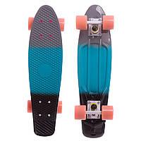 Скейтборд пластиковый Penny FISH COLOR POINT 22in полосатая дека с цветными болтами (TM004)