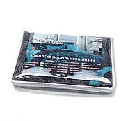 """Двоспальний комплект (Бязь)   Постільна білизна від виробника """"Королева Ночі""""   Завитки на темному і блакитному, фото 5"""