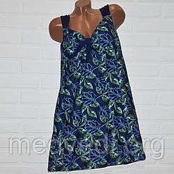 Синий купальник платье 66 размер, зеленые листья, большой танкини для пышных дам