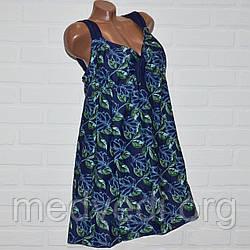 Синий купальник платье 68 размер, зеленые узоры, шикарный танкини для больших дам