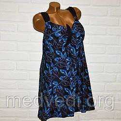 Темно-синий купальник платье 66 размер, большой танкини для пышных дам