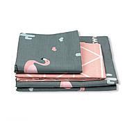 """Полуторный комплект (Бязь)   Постельное белье от производителя """"Королева Ночи""""   Кактусы и фламинго на темном, фото 2"""