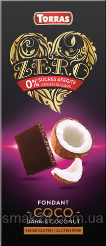 Шоколад  без сахара и глютена Torras ZERO черный с кокосом Испания 125г