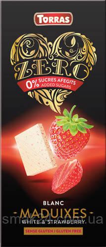 Белый шоколад без сахара и глютена Torras ZERO BLANC MADUIXES White Chocolate strawberries с клубникой 125 г