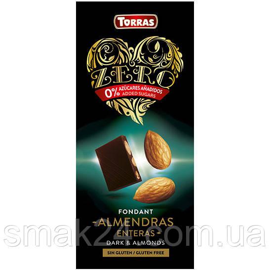 Черный шоколад без сахара и глютена Torras ZERO with almonds с миндалем 150 г