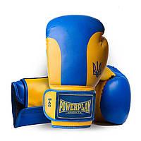 Боксерские перчатки PowerPlay 3021 Ukraine сине-желтые 8 унций, фото 1