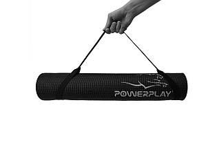 Коврик для йоги і фитнесу PowerPlay 4010 (173*61*0.6) Чорний