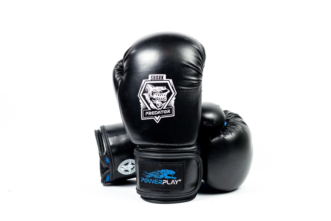 Боксерские перчатки PowerPlay 3001 черно-синие 12 унций