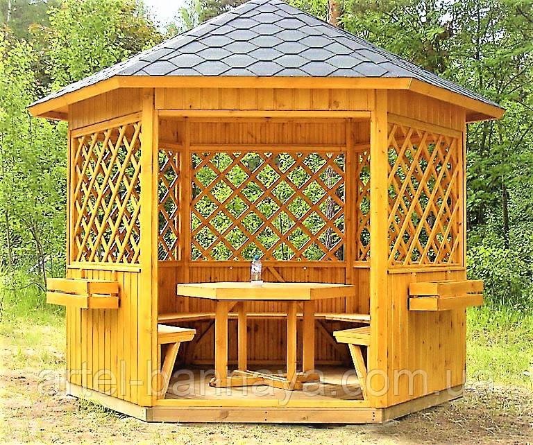 Беседка шестигранная из дерева 2,5 м диагональ от производителя Wood Gazebo 011 Белая Церковь