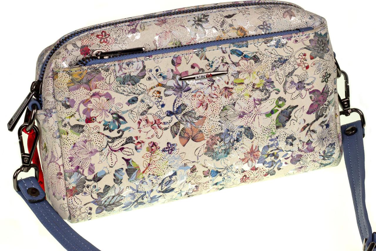 Женская сумка кожаная кросс-боди Eminsa 40125-2 голубые цветы