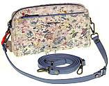 Женская сумка кожаная кросс-боди Eminsa 40125-2 голубые цветы, фото 3