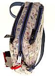 Женская сумка кожаная кросс-боди Eminsa 40125-2 голубые цветы, фото 5
