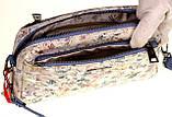 Женская сумка кожаная кросс-боди Eminsa 40125-2 голубые цветы, фото 7