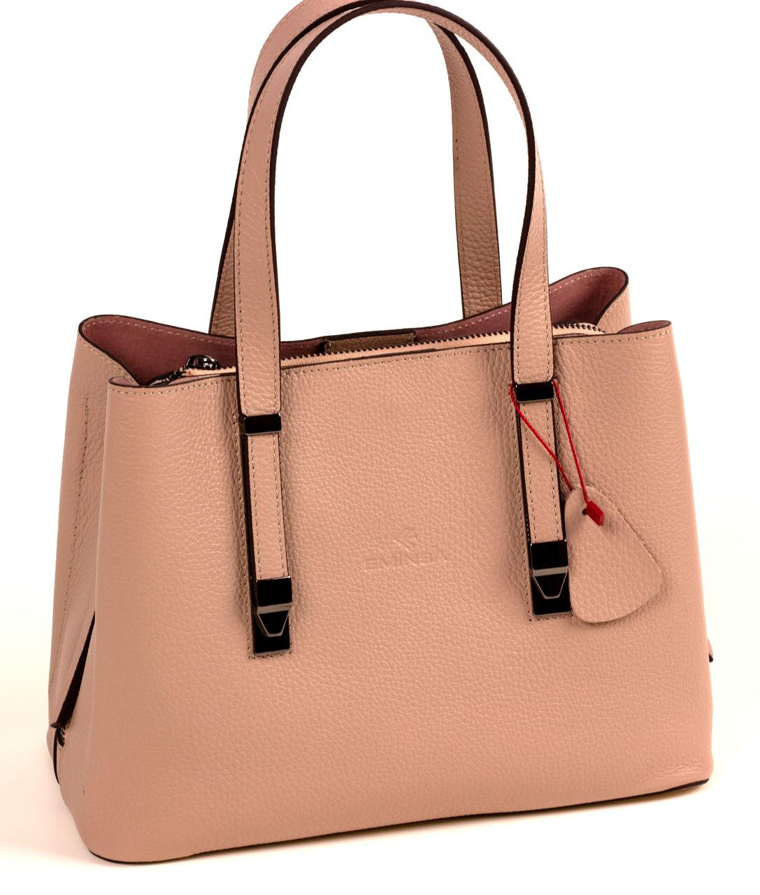 Женская сумка из натуральной кожи Eminsa 40190 розовая пудра