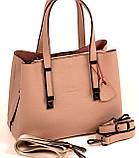 Женская сумка из натуральной кожи Eminsa 40190 розовая пудра, фото 3
