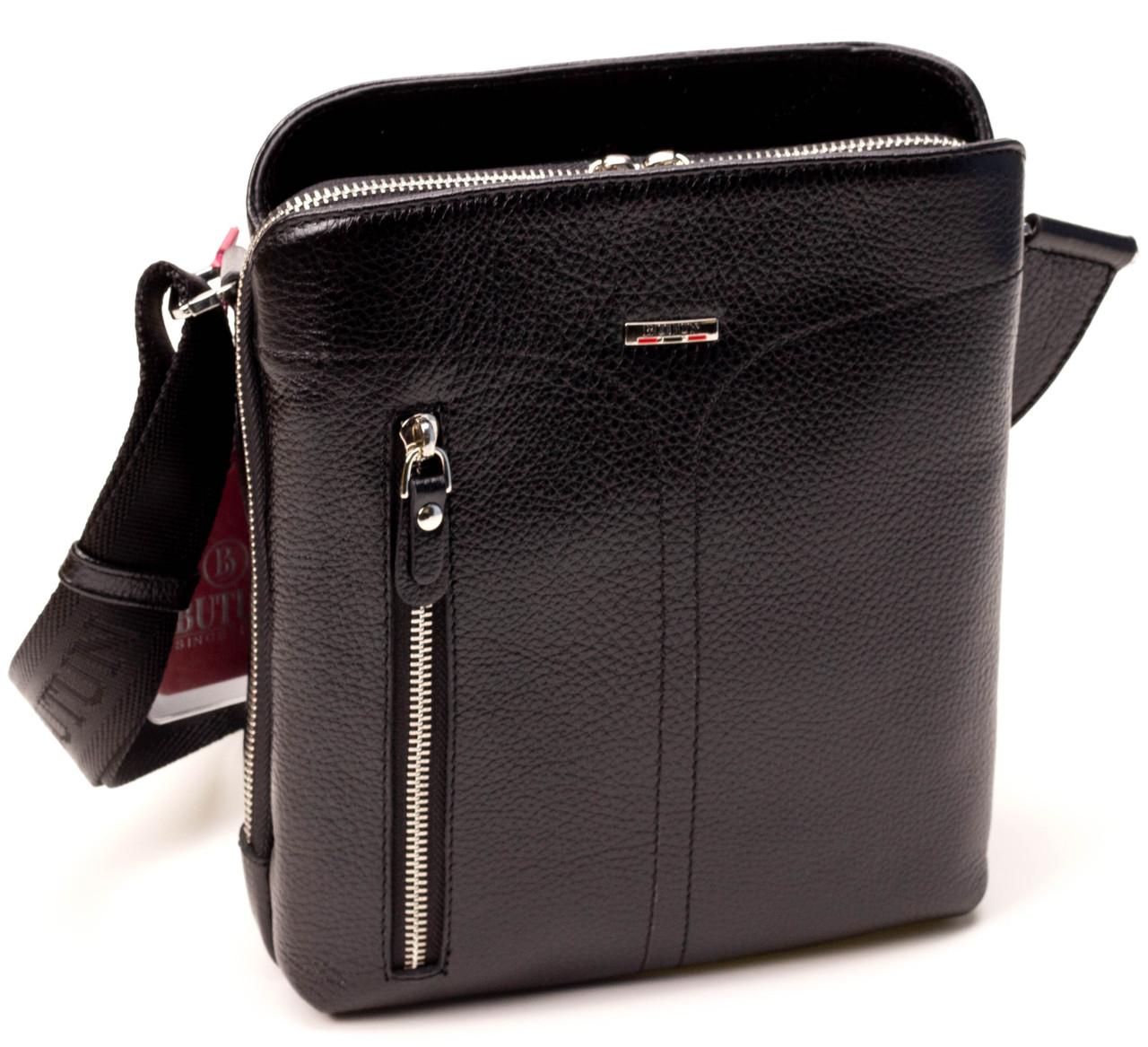 Мужская сумка через плечо BUTUN 434-004-001 из натуральной кожи черная