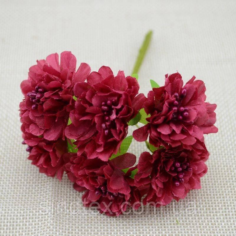 """Цветок """"Хризантема органза"""" (цена за букет из 6 шт). Цвет - бордовый (сп7нг-1448)"""