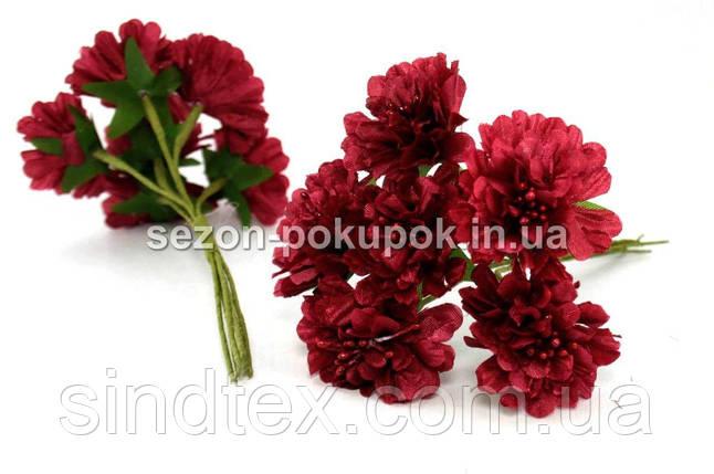 """Цветок """"Хризантема органза"""" (цена за букет из 6 шт). Цвет - бордовый (сп7нг-1448), фото 2"""
