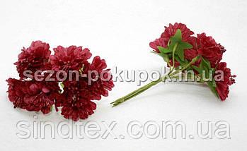 """Цветок """"Хризантема органза"""" (цена за букет из 6 шт). Цвет - бордовый (сп7нг-1448), фото 3"""