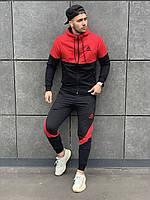 Спортивный костюм мужской Reebok (Рибок) черно-красный осенний весенний демисезонный | Кофта + Штаны